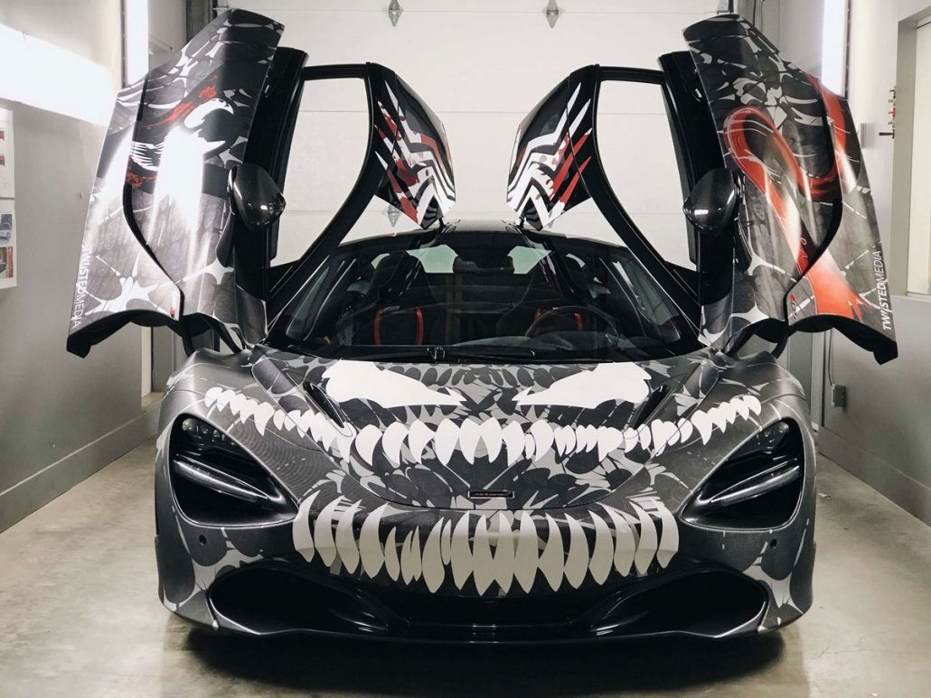 McLaren 720S vinyl wrapped in Venom styled wrap