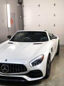 Mercedes satin white vinyl wrap