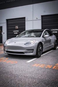 Nardo Grey Tesla wrap